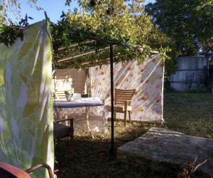 "Sukkah all done! Nothing like ""goodly boughs"" of Texas pecan trees and crepe myrtles to cover the roof!"