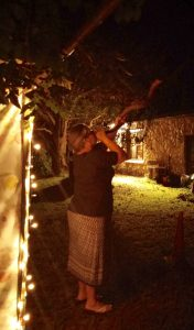 Debbie blowing her shofar on the first night of Sukkot!